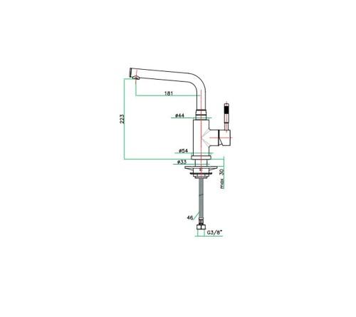 Μπαταρία πάγκου ψηλή κουζίνας XENON FIORE 44CR5490 τύπου L