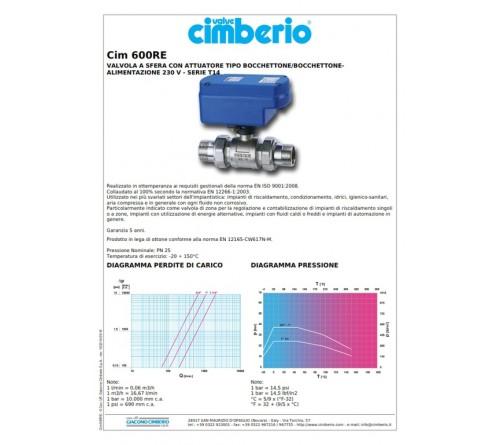 Ηλεκτροβάνα CIM 1'' 600 RE  ΔΙΟΔΗ με 2 Ρακορ Πλήρης  ( CIMBERIO )